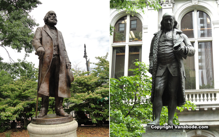 statues of edward everett hale and benjamin franklin picture