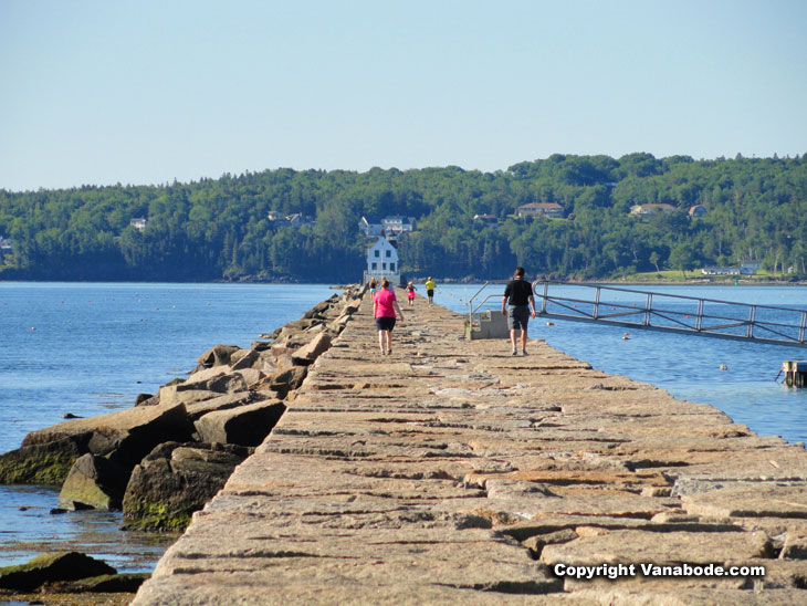 breakwater rockland maine sunny day