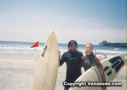 picture of us just after surfing in the cold california ocean
