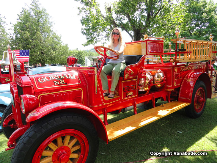 Kelly poses on the old Gorham firetruck