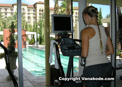 picture taken from inside the fitness center overlooking the lap pool at green valley ranch