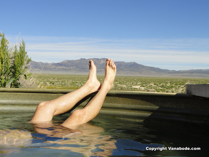 resting in the free super heated hot springs tub in the desert outside Austin Nevada.