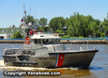 coast guard stainless steel vessel at connector park in  Grand Haven Michigan inlet