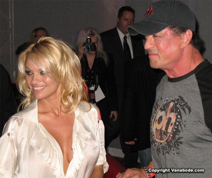 Pamela Anderson and Sylvestor Stallone at one of  the daily parties hosted in Vegas