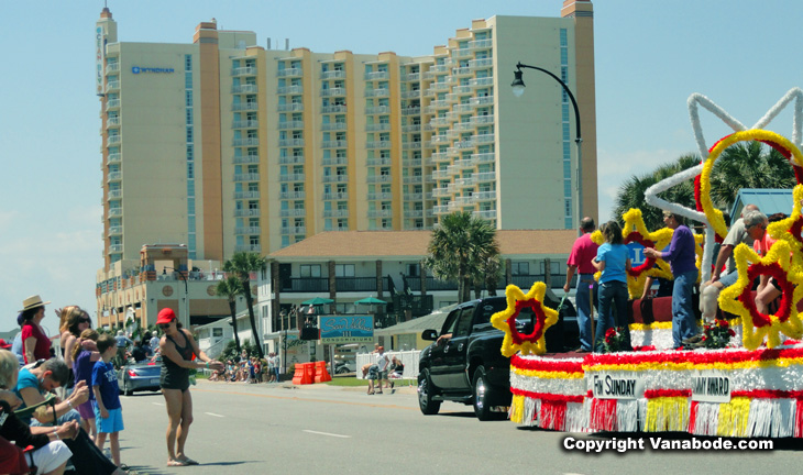 shaggers parade float and condos on the ocean