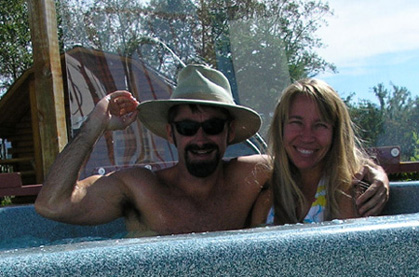 picture of us sitting in hot tub near glacier national park montana