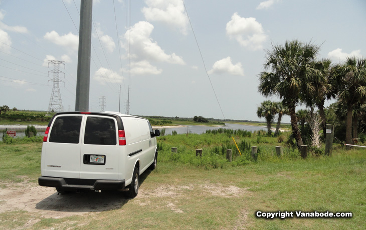 shows Vanabode parked on one of the  many parts of 17 miles of tosohatchee  bordering saint johns river