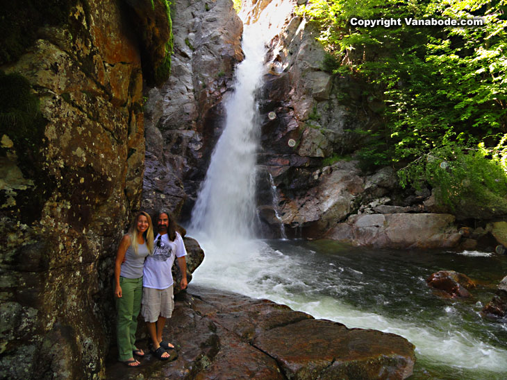Jason and Kelly Odom in the white mountains water falls in new hampshire